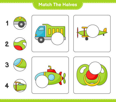 Match the halves. Match halves of Lorry, Plane, Submarine, and Pacifier. Educational children game, printable worksheet vector illustration.