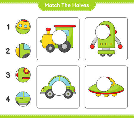 Match the halves. Match halves of Train, Robot Character, Car, and Ufo. Educational children game, printable worksheet vector illustration.