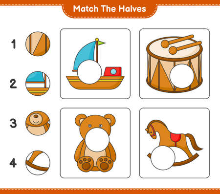 Match the halves. Match halves of Boat, Drum, Teddy Bear, and Rocking Horse. Educational children game, printable worksheet vector illustration.