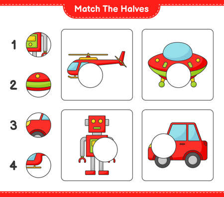 Match the halves. Match halves of Helicopter, Ufo, Robot Character, and Car. Educational children game, printable worksheet vector illustration.