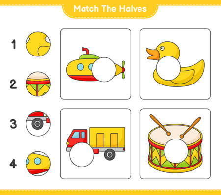 Match the halves. Match halves of Submarine, Rubber Duck, Lorry, and Drum. Educational children game, printable worksheet vector illustration.