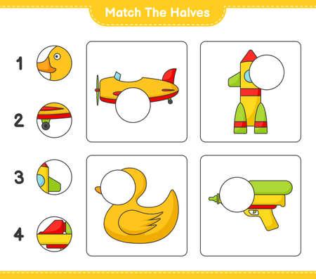 Match the halves. Match halves of Plane, Rocket, Rubber Duck, and Water Gun. Educational children game, printable worksheet vector illustration.