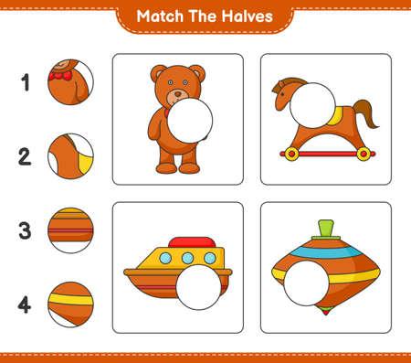 Match the halves. Match halves of Teddy Bear, Rocking Horse, Boat, and Whirligig Toy. Educational children game, printable worksheet vector illustration. Illustration