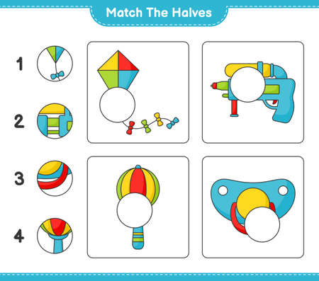 Match the halves. Match halves of Kite, Water Gun, Baby Rattle, and Pacifier. Educational children game, printable worksheet vector illustration.