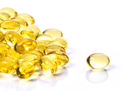 Fish oil capsule, Omega 3-6-9 fish oil yellow soft gels capsules, Sacha inchi oil, Yellow oil pills Stock Photo