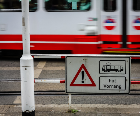 Warning for the tram Standard-Bild