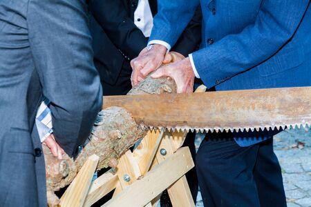 Cutting wood in the wedding