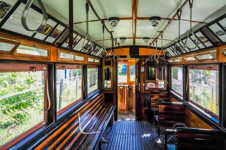 Inside old tram cabine