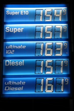Prices in the petrol station