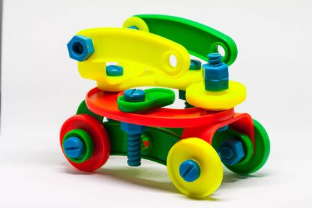 A plastic car build from children