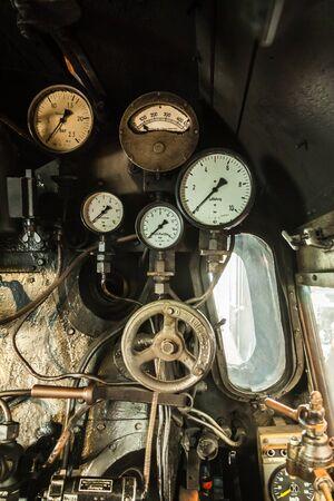 Cockpit of an old steam locomotive