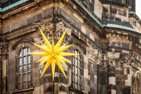 Herrnhut star in front of the Kreuzkirche