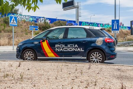 Car of the national police in Mallorca Imagens