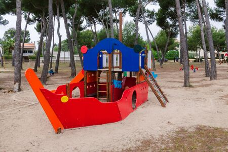 Playground with a colorful ship