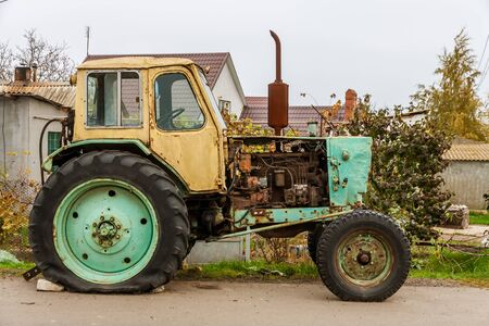 Old russian tractor Stock Photo