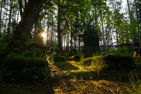 Gravestones of an old forgotten cemetery Banque d'images - 134799510