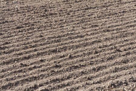 A fresh plowed field in autumn