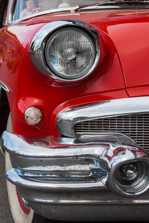 Red 1956 Buick Special front with headlamp