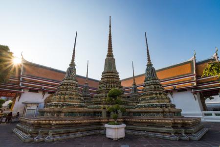 asian angel: The stupas of Wat Pho in Bangkok, Thailand.