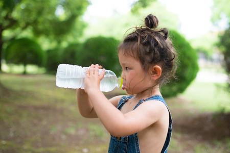 bottled water: Girl drinking bottled water