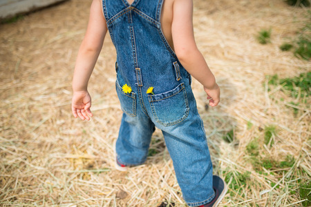 overalls: Child dressed in overalls