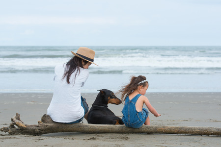 Mother and daughter and a dog sitting on the beach