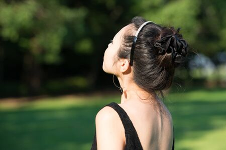 Rear View of Japanese woman