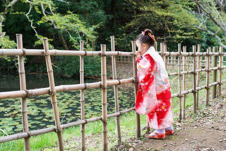 Three years old Japanese girl wearing kimono