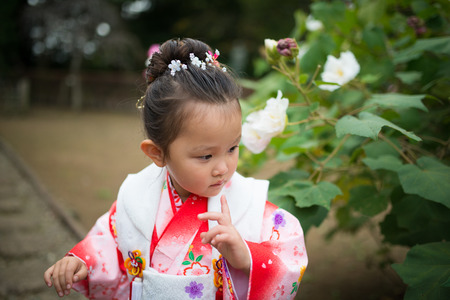 Portrait of a girl wearing kimono