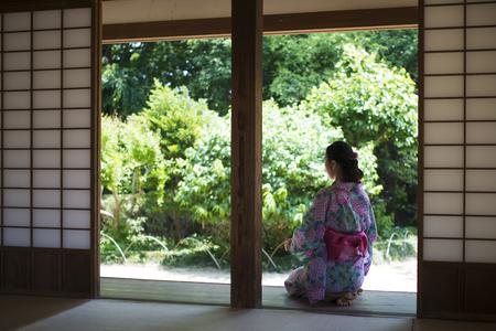 A beautiful Japanese woman wearing a Yukata