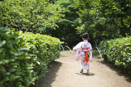 Little girl wearing a yukata