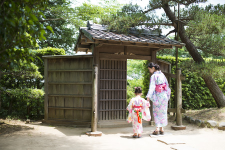 Mother and daughter wearing a Yukata Stock Photo