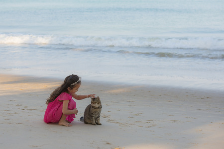Happy little girl petting a cat at the beach Stock Photo