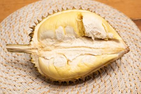 Durian split in half Stock Photo
