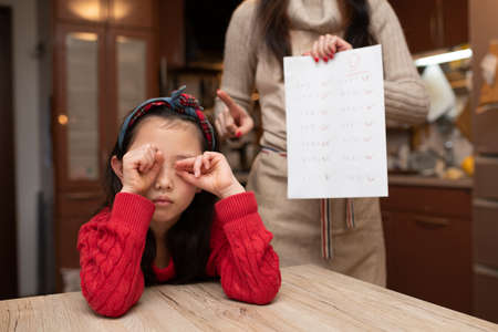 Mother scolds daughter with poor test