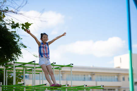 Girl playing in the jungle gym in the schoolyard Standard-Bild