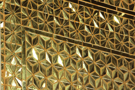 The walls are decorated with golden glass. 写真素材