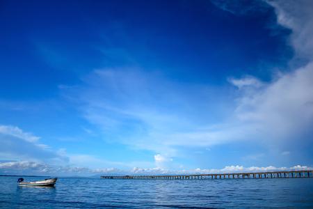 Concrete bridges stretched into the sea. Reklamní fotografie