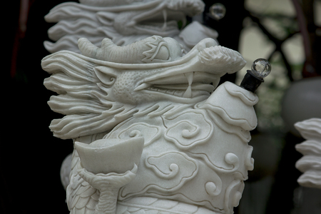 Chinese dragon head carved from marble