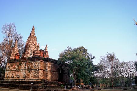 (Wat Jet Yod) Wat Photharam Chiangmai Province Stock Photo