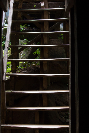 Old wooden stairs that have been used for a long time Stock Photo