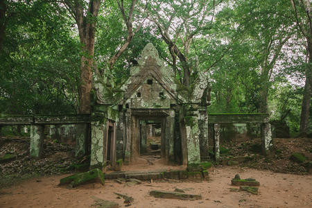 Koh Ker, an ancient castle with a tree cover Which is the territory of the past