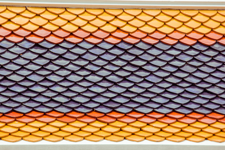 The roof is made of stacked clay tiles. Stockfoto