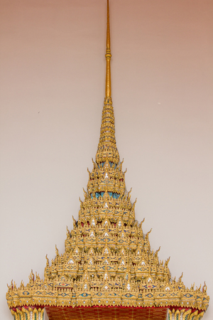 The form of gable apex on the roof of a beautiful Thai temple