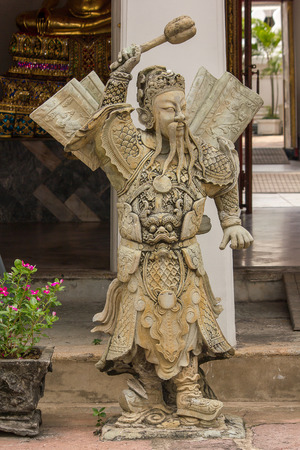 Chinese gods carved from Chinese style stones in Thai temples