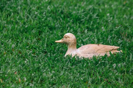 Statue of yellow ducks on the lawn. Imagens