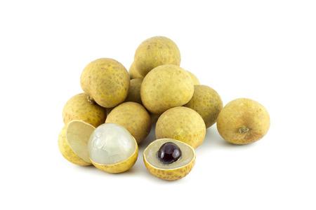 flesh colour: longan. fresh longan isolated on white background
