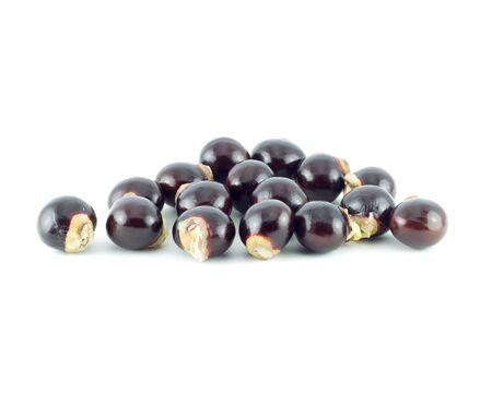 flesh colour: Longan seed. fresh longan isolated on white background Stock Photo