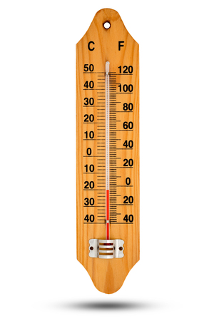 celsius: Thermometer on wooden base with celsius scale. Icon for your design. Temperature -20 degree Celsius.