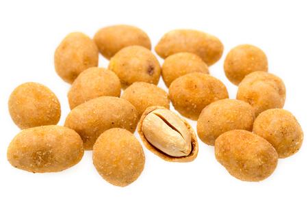 Crispy peanut isolated on white background.